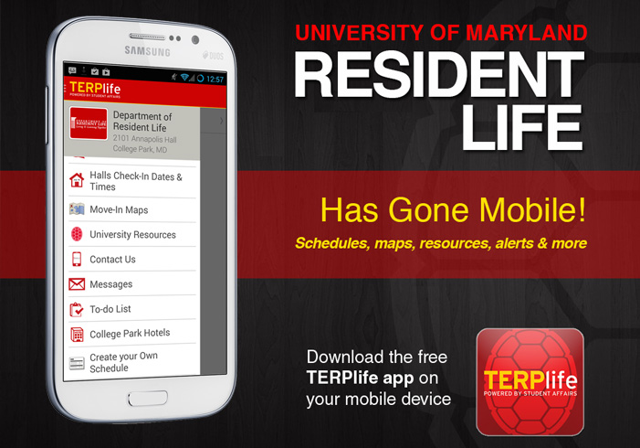 Resident Life Guidebook on the TERPlife app